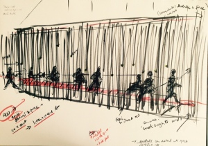 Through A Wall Installation sketch (Alinah Azadeh 2016)